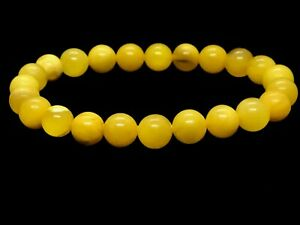 Amber-BRACELET-Natural-Baltic-Amber-Egg-Yolk-Yellow-Round-Beads-Ladies-6-1g-A103