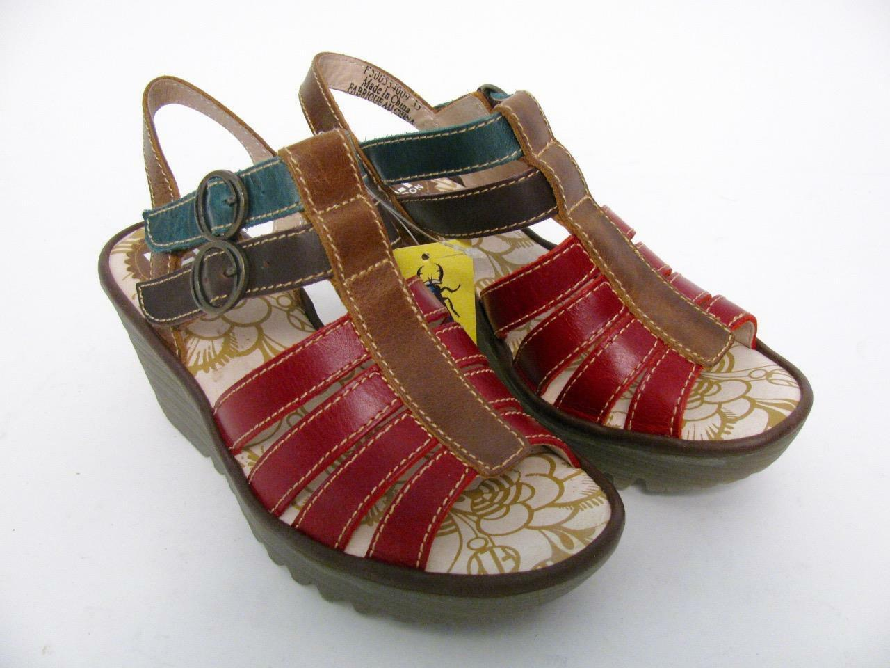 FLY LONDON LONDON LONDON START LEATE BUCKE ÖPP TOE WEDGE SANDALS skor 35   5  ingen skatt