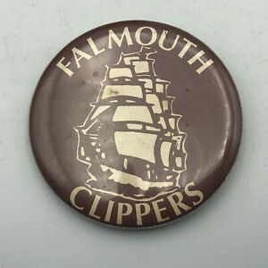 """Rare Vtg Falmouth Clippers High School On Cape Cod 2.25"""" Button Pin Pinback Y4"""