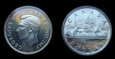 Canada 1947 Dollar, Maple Leaf, Rare Superb Gem, Cameo Frosty Device, Mtg 21,135