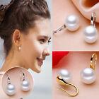 1Pair Korean Womens White Pearl Gold Silver Earrings Hook Stud Wedding Jewelry