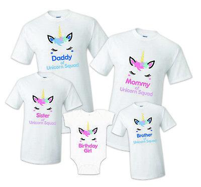 Unicorn Squad Birthday Matching T-shirts Party Family Kid ...
