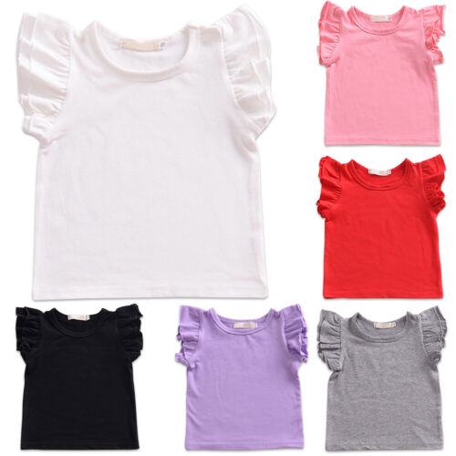 Toddler Baby Girls Candy Color Ruffle Short Sleeve Summer T-shirt Tops Blouse