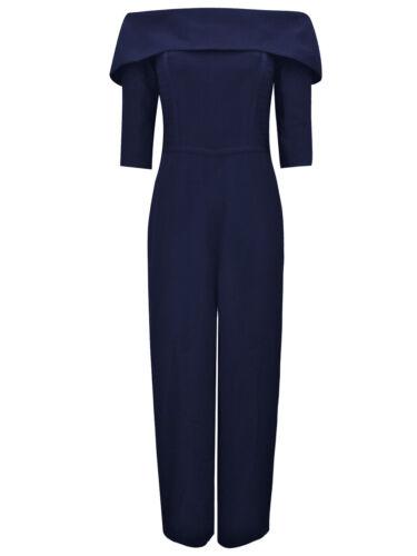 New Women/'s Ex Coast Sara Bardot Wide Legged Navy Blue Jumpsuit Size 8 10