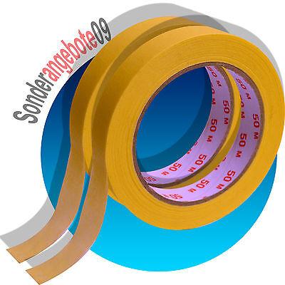 2x KREPPBAND a 50m x 19mm Malerband 100 m Klebeband Malerkrepp Kreppklebeband