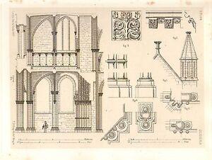 1857 Grande Arquitectura Estampado ~ Dijon Catedral Notre Damas Medieval Gótico