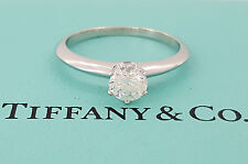 Tiffany & Co 0.57 ct Platinum Round Cut Diamond Solitaire Engagement Ring F/ VS1
