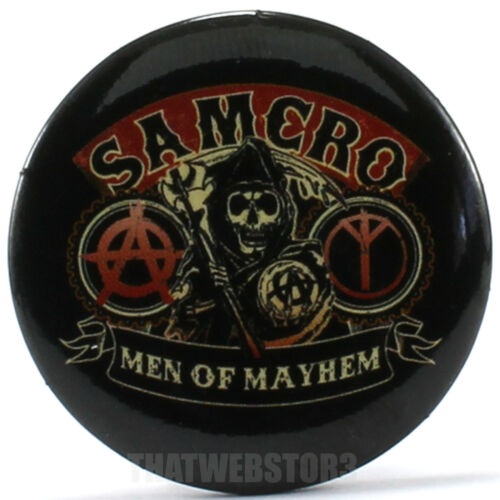 """Sons of Anarchy Samcro Men of Mayhem 1.25/"""" Button ~ Officially Licensed ~ NEW"""