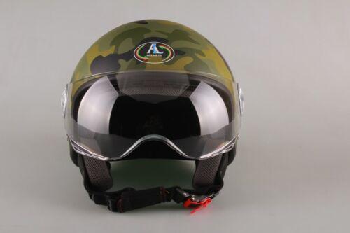 CASCO JET Mimetico Verde per scooter Al helmets OMOLOGATO ECE R 22-05 S M L XL