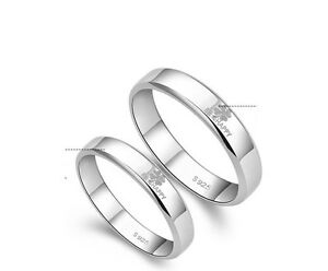 b30387ac9 Image is loading 1PCS-Platinum-Plate-Luck-Clover-Couple-Band-Love-