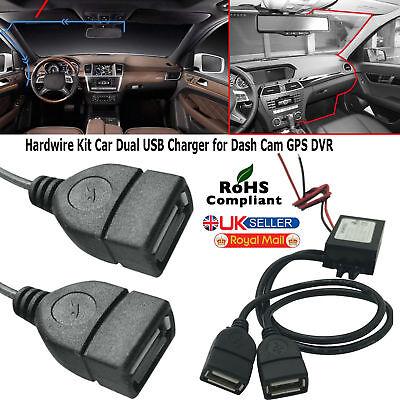DC 12V a 5V 3A 15W coche Hard Wired Dual USB Cargador Para Cámara en Tablero iPhone GPS DVR