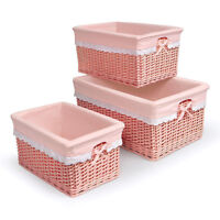 Badger Basket Coral Nursery Baskets Set Of 3 Wicker Organizer Kids Toy Storage