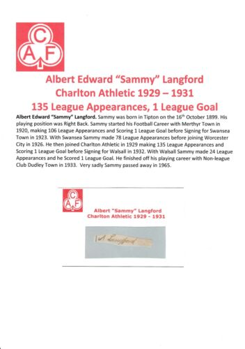 SAMMY LANGFORD CHARLTON ATHLETIC 19291931 VERY RARE ORIGINAL SIGNED CUTTING