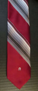 Vintage-Mens-Slim-ETIENNE-AIGNER-Deep-Red-amp-Charcoal-Gray-Striped-Tie