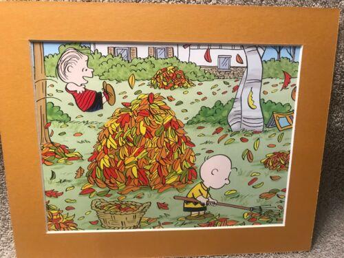 LINUS VAN PELT /& CHARLIE BROWN~8 x 10 Mat Print~A FALL CLASSIC~PILE OF LEAVES