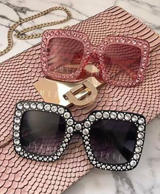 BLACK Diamante SQUARE Big SUNGLASSES Celebrity FESTIVAL Designer Inspired Style
