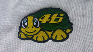 2 PATCH TOPPE VR46 NERE RICAMATE TERMO ADESIVE 8X5 CM