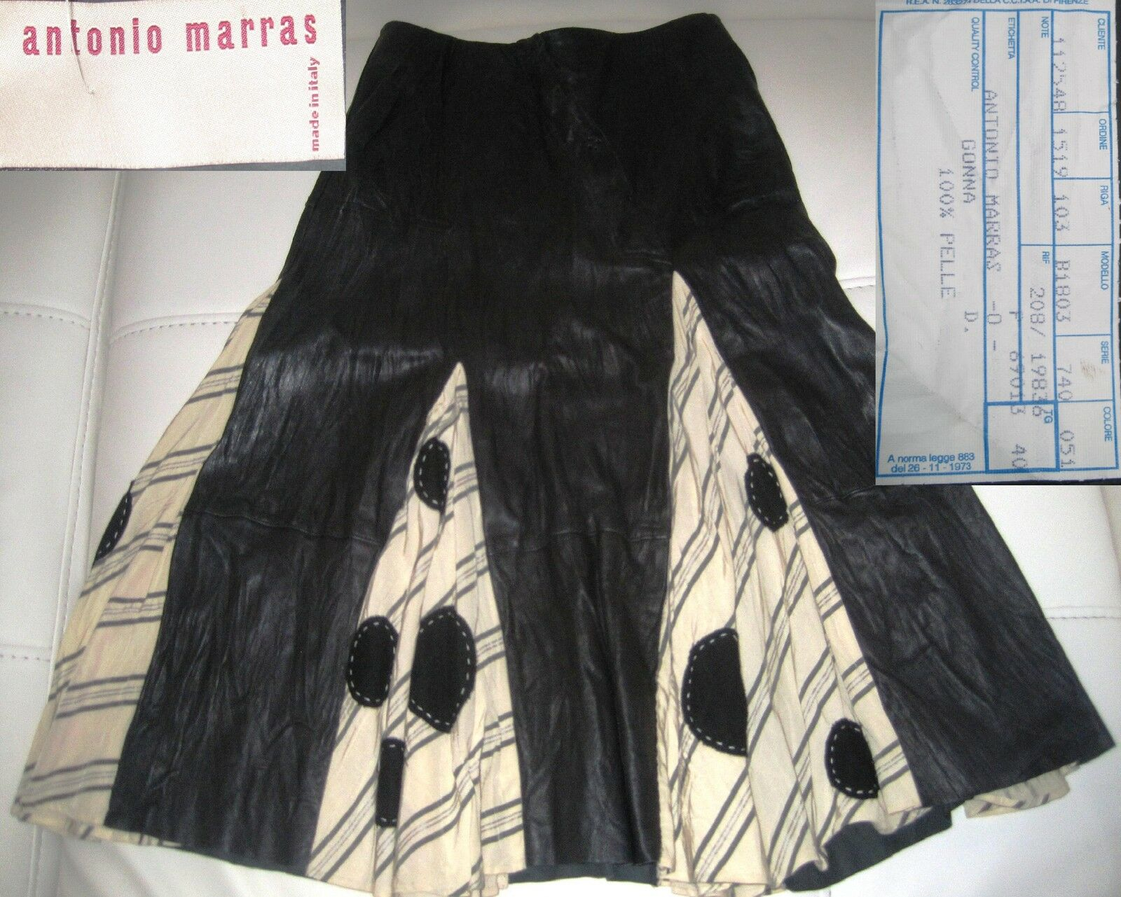 ANTONIO MARRAS Gonna Pelle trend Pois bianco schwarz Skirt Leather Rock Leder