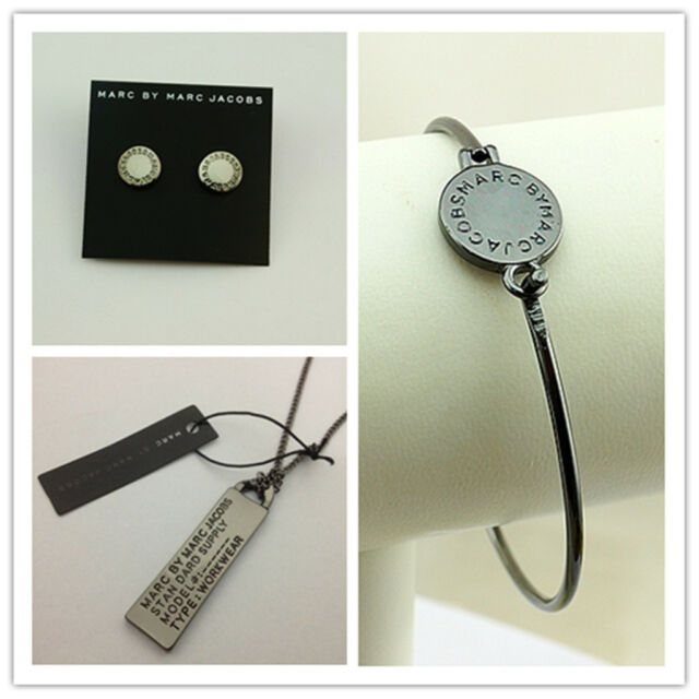 MARC BY MARC JACOBS BLACK DISC LETTERS BRACELET EARRINGS NECKLACE SET #J0093