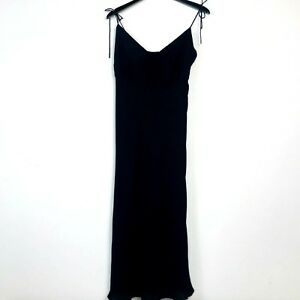 J Crew Women Dress Size 6 Black 100% Silk CrepeTie Spaghetti Straps Empire Waist