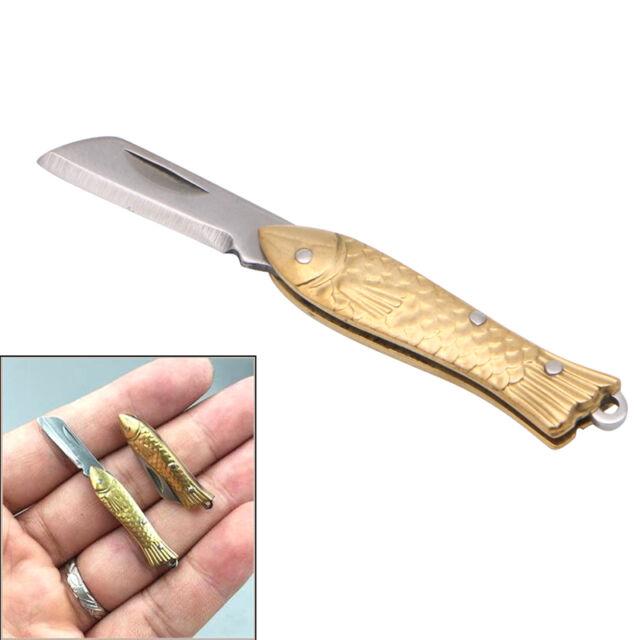 Brass Small Fish-shape Keyring Pocket Keychain Tactical Folding Folder Knife