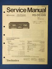 TECHNICS RS-D510W CASSETTE SERVICE MANUAL ORIGINAL FACTORY ISSUE REAL THING
