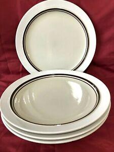 Carousel Stoneware 801 White Set of 4 Dinner Plates 10 1/2' Japan