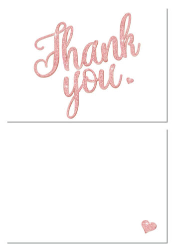 Thank you Cards White with sparkle coloured /'Thank you/' A6 cards Pack of 24