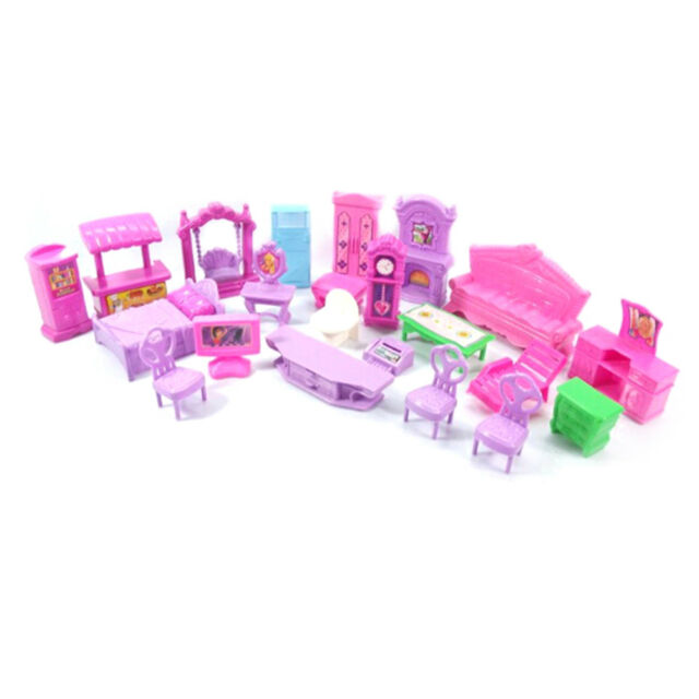 Plastic Furniture Doll House Family Christmas Xmas Toy Set for Kids Children TS