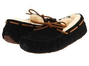 UGG-Australia-Dakota-Black-Moccasin-Slipper-Women-039-s-sizes-5-6-11-NEW
