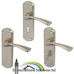 Hafele Olton Satin Nickel Lever Handles With Backplates