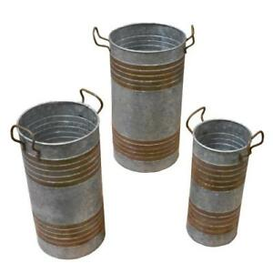 Galvanized Metal Planter Stand Set 3 Metal Planter Home Accent