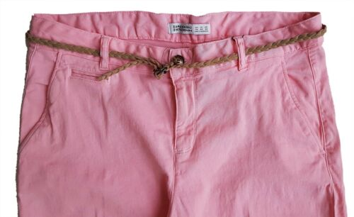 Women ZARA Chinos Trousers Pants Womens Neon Pink Faux Suede Belt UK 6 12 £25.99