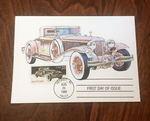 US-STAMPS-1931-CORD-CLASSIC-CAR-FIRST-DAY-ISSUE-MAXIMUM-CARD-1988-Dr-Jim