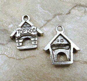Set-of-3-Pewter-034-TOP-DOG-034-DOG-HOUSE-Charms-5489