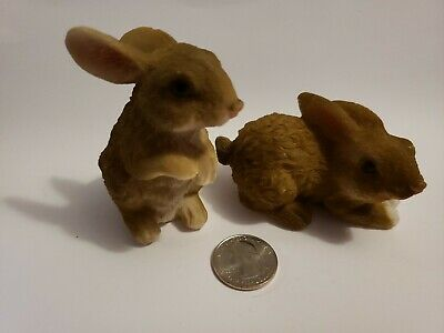 Miniature Dollhouse FAIRY GARDEN Accessories ~ Pair of Gray Rabbit Statues ~ NEW