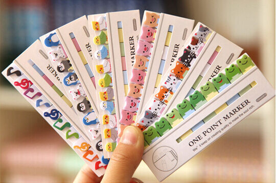 150 Pcs Cute Animal Adhesie Sticky Notes Memo Pad Label UK Kids Party Index
