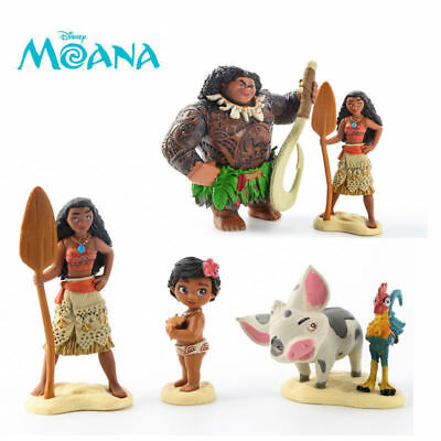 HOT Moana Action Figures Doll Necklace Kids Children Play Cake Topper Toy Set