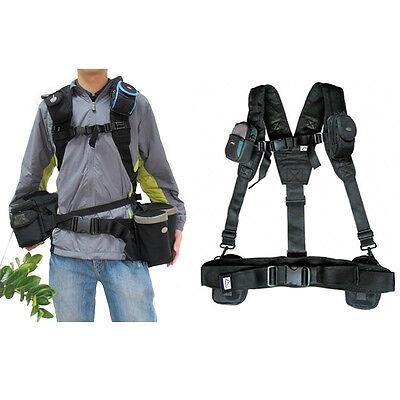 Adjustable Padded Camera Waist Shoulder Belt Sling Pack Strap Hangs Bag and Lens