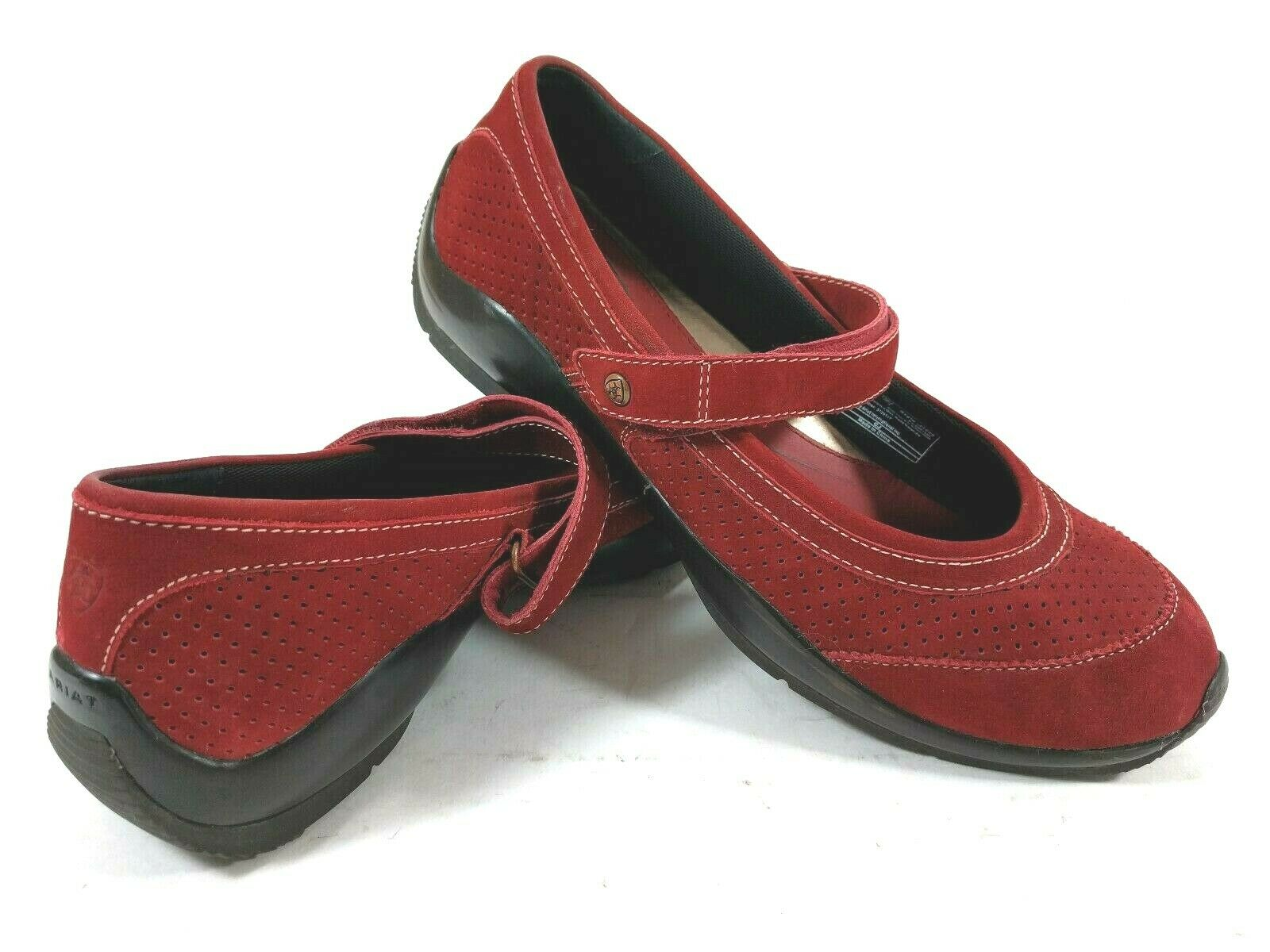 Ariat Red Suede Mary Jane Hook and Loop Slip On Ballet Toe Loafer shoes Size 9B