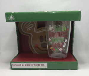 Disney-Holiday-Plate-amp-Glass-Set-Mickey-Mouse-Milk-And-Cookies-For-Santa