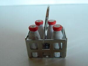 (f3) Maison De Poupées Food: Métal Milk Crate Et Quatre Bouteilles De Lait-afficher Le Titre D'origine Kzsspabt-07164519-291928876
