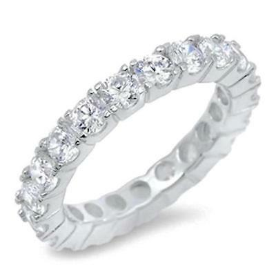 3.5 mm Round 925 Silver CZ Stackable Eternity Bridal Wedding Band Ring Size 4-11