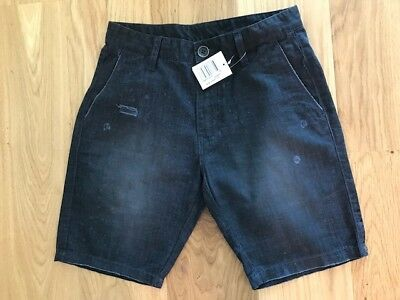 Billabong Mason 100% Cotton Shorts Steel Blue Black Small W 30 Bnwt Rrp £55.00