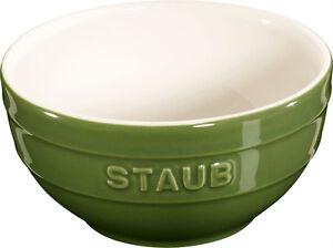 Staub-Ceramica-Tazon-Fuente-Cuenco-de-postre-PEQUENO-VERDE-Albahaca-12cm