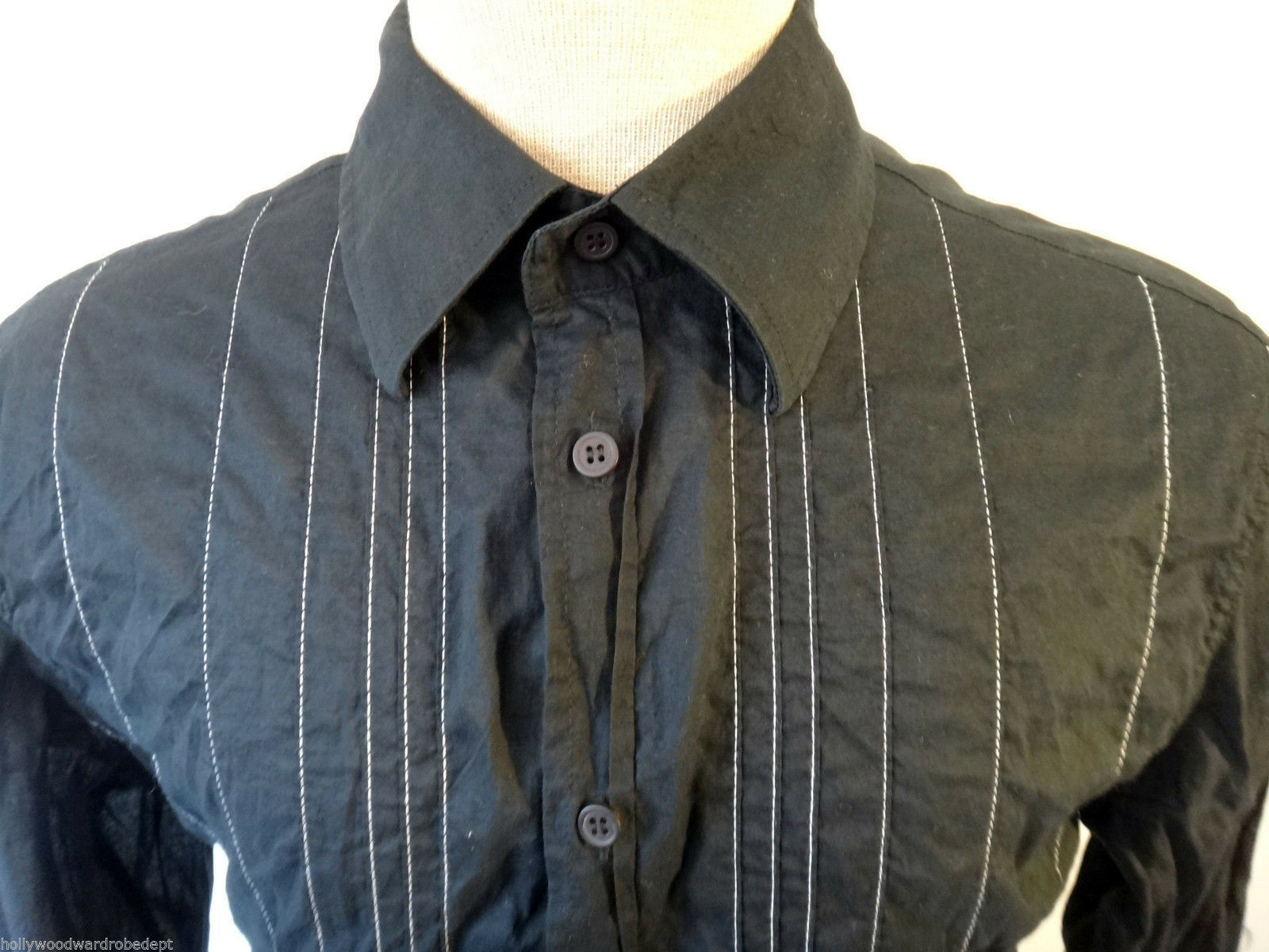 FCUK jean french connection shirt tuxedo stripe stitch embroidered steampunk blk