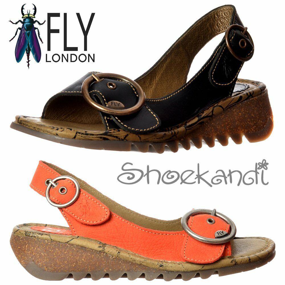 Mujer Fly London Tranvía Charol Sandalia de cuña de cuero Talla Zapato Cleated Suela