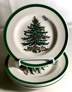 4-Spode-Christmas-Tree-6-1-2-034-Bread-And-Butter-Plates-England-Backstamp