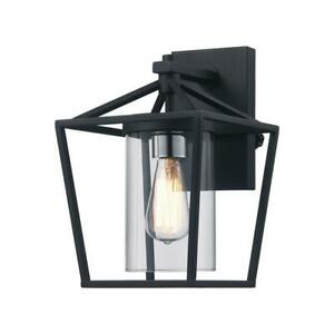 Monteaux-Lighting-Monteaux-1-Light-Black-Outdoor-Wall-Lantern-with-Clear-Glass