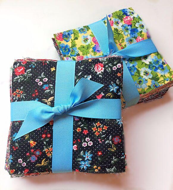 """96 Vintage Bouquet Shabby chic precut charm  5"""" square 100% cotton fabric quilt"""